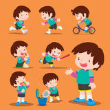 Cute boy many actions Royalty Free Stock Photo