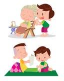 Cute boy massage. Vector of Cute boy cartoon healing massage grandfather and grandmather Royalty Free Stock Image