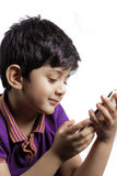 A cute boy with mobile Stock Image