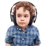 Cute boy on modern technology Stock Images
