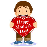 Cute Boy With Mothers Day Card Royalty Free Stock Image