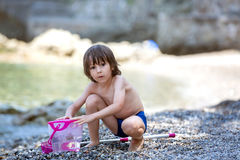 Cute boy with net for fishing and bucket, trying to catch some l Royalty Free Stock Photos