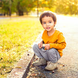 Cute Boy Outdoors Stock Photography