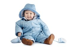 Cute boy in overalls. On white background Royalty Free Stock Images