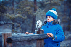 Cute boy with owl toy on shoulder in winter forest Stock Photos