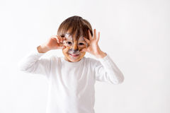 Cute boy with painted face as a lion, having fun Royalty Free Stock Photography