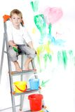 Cute Boy Paiting Over White Stock Photos