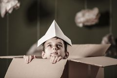 Cute boy in paper box Royalty Free Stock Image