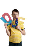 Cute boy with paper letters love Royalty Free Stock Images