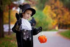 Cute boy in the park, wearing magician costume for Halloween Royalty Free Stock Photos