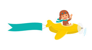 Cute boy pilot flies on a yellow plane in the sky. Air adventure. Isolated cartoon vector illustration.  Stock Photo