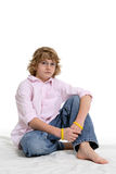 Cute boy in pink shirt Stock Images