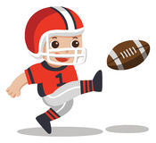 A cute boy playing American football. vector illustration