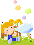 Cute boy playing bubbles. Illustration Stock Images