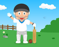 Cute Boy Playing Cricket in the Park Royalty Free Stock Photos
