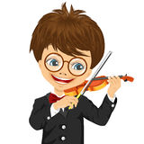 Cute boy playing violin. Closeup portrait of cute boy with glasses playing violin  on white background Stock Photo