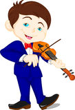 Cute boy playing violin Royalty Free Stock Photos