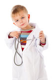 A cute boy is portraying a doctor Royalty Free Stock Image
