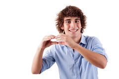 Cute boy, putting hands like if was eating Royalty Free Stock Photography