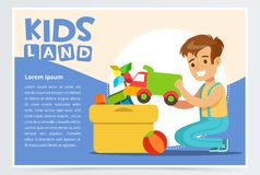 Cute boy putting his toys in special box. Teenager cleaning his room. Creative blue card with place for text. Colorful vector illustration