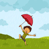 Cute boy in rain for Monsoon Season concept. Royalty Free Stock Images