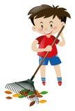 Cute boy raking dried leaves. Illustration royalty free illustration