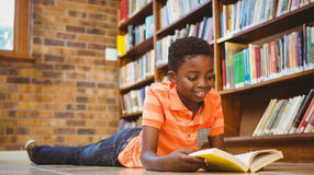 Cute boy reading book in library Royalty Free Stock Image