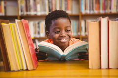 Cute boy reading book in library Stock Photography