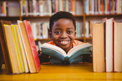 Cute boy reading book in library Royalty Free Stock Photography