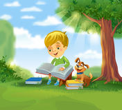 Cute boy reading book. Boy reading book outdoors under a tree in sunny summer day, vector illustration stock illustration