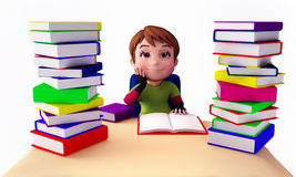 Cute boy reading lots of books Royalty Free Stock Images