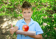 Cute Boy with Red Apple and Thumbs Up. Outdoor photo. Education and kids fashion concept Stock Photography