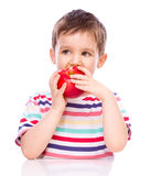 Cute boy with red apples Royalty Free Stock Photo