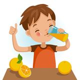 Drinking juice. Cute boy in red shirt holding glass of  kid Drinking orange juice. Thumbs up. Emotionally. Healthy concepts and crowth in child cutrition. Vector Royalty Free Stock Photography
