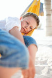 Cute boy relaxing in hammock Royalty Free Stock Images