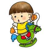 Cute boy rocking on a wooden horse. Cartoon illustration of a cute boy rocking on a wooden horse Stock Photography