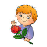 Cute boy with rose in hand on a white. Cute boy holding a flower on white background Stock Illustration