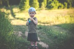 Cute boy in rural nature fields royalty free stock photos
