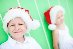 Cute boy in a Santa hat Royalty Free Stock Photos