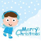 Cute boy say hello on snow background  carton for Xmas postcard, wallpaper, greeting card. Illustration Royalty Free Stock Photos