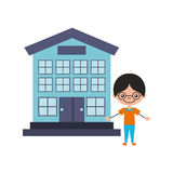 Cute boy with school building character icon. Vector illustration design Royalty Free Stock Photography