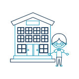 Cute boy with school building character icon. Vector illustration design Royalty Free Stock Images
