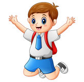 A cute boy in a school uniform is jumping. Illustration of A cute boy in a school uniform is jumping Royalty Free Stock Image