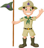 Cute boy scout cartoon holding pole yelling Royalty Free Stock Photos