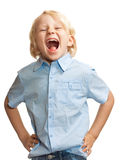Cute boy screaming royalty free stock images