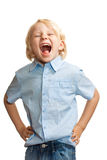 Cute boy screaming and laughing stock image
