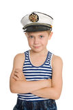 Cute boy in a sea cap. Royalty Free Stock Photos