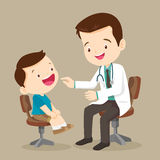 Cute boy see Doctor. Doctor is seeing a small boy.They are sitting at the table and talking.They are smiling. The doctor is looking at the child with joy. on stock illustration