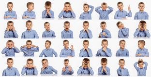 Cute boy, set of different emotions, collage on white background stock photography