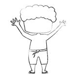Cute boy shirtless drawing icon Royalty Free Stock Photos